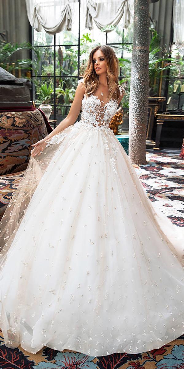 fantasy wedding dresses ball gown floral appliques milla nova