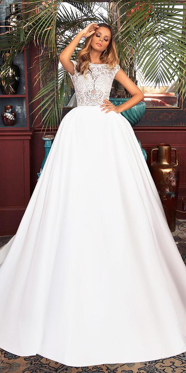 fantasy wedding dresses ball gown with cap sleeves lace top milla nova