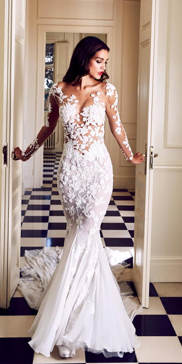lace fantasy wedding dresses mermaid floral appliques tattoo effect with train pronovias