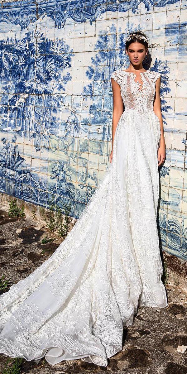 fantasy wedding dresses sheath floral embroidered lace with train milla nova