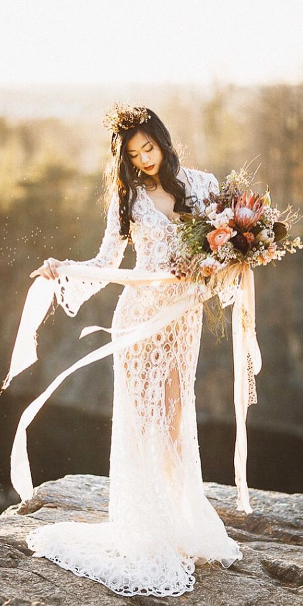 fantasy wedding dresses sheath with sleeves slit boho yolan cris