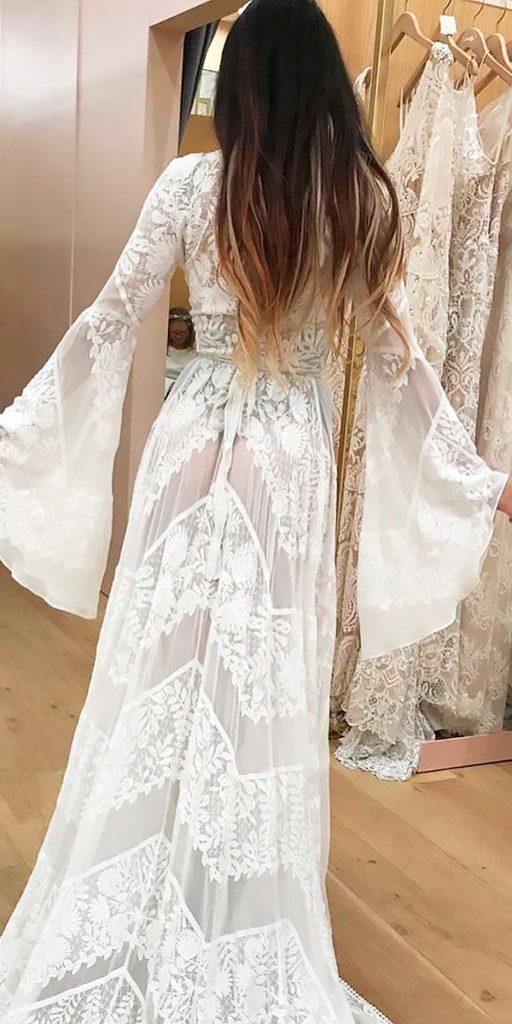 hippie boho wedding dresses with sleeves straight lace rue de seine bridal