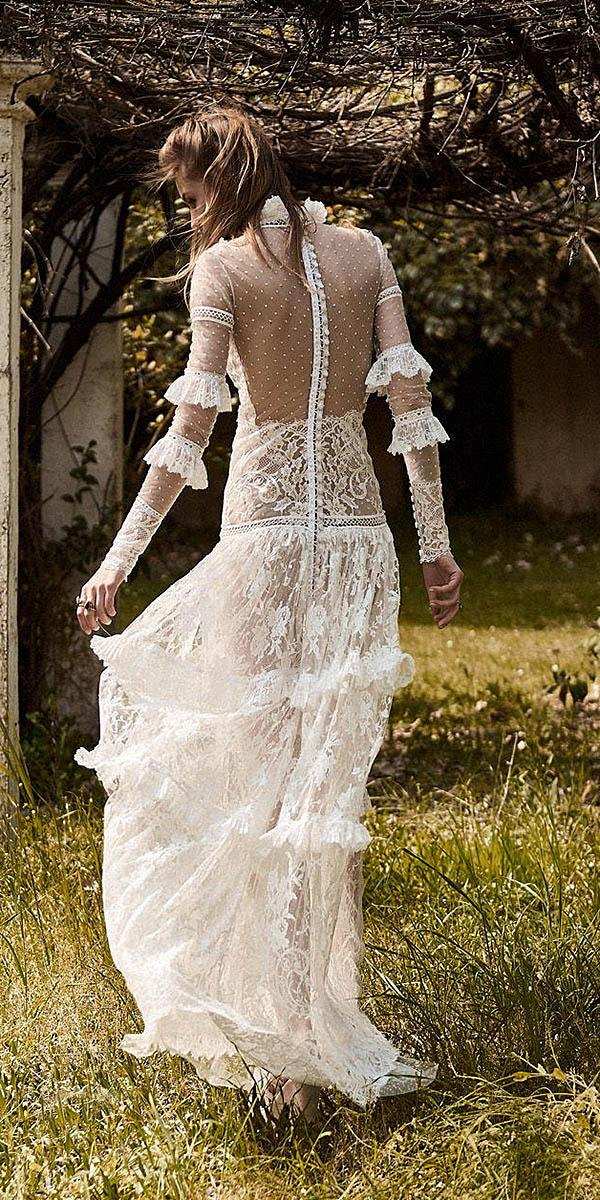 illusion back with long sleeves with buttons nude delicate lace christos costarellos wedding dresses 2018