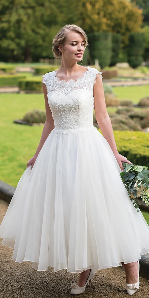 illusion lace sweetheart neck cap sleeves tea length wedding dresses ivory and co