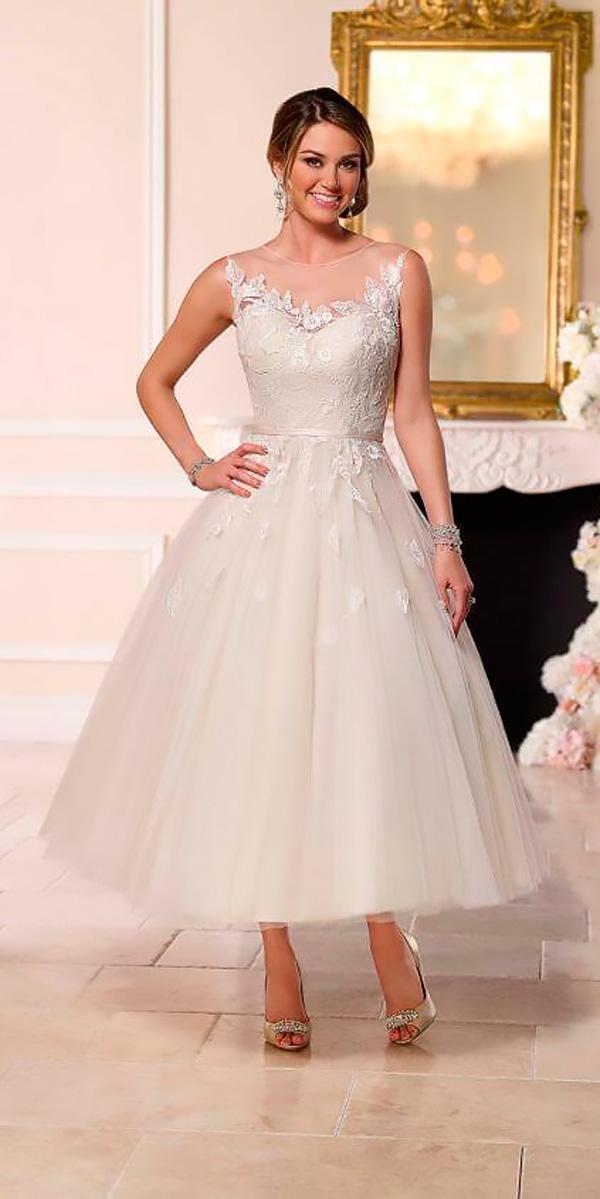 illusion lace sweetheart neckline tea length wedding dresses stella york