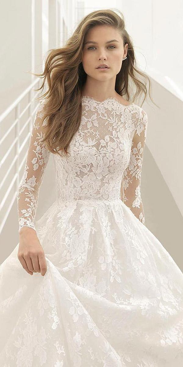 illusion long sleeve wedding dresses a line lace embellishment rosa clara