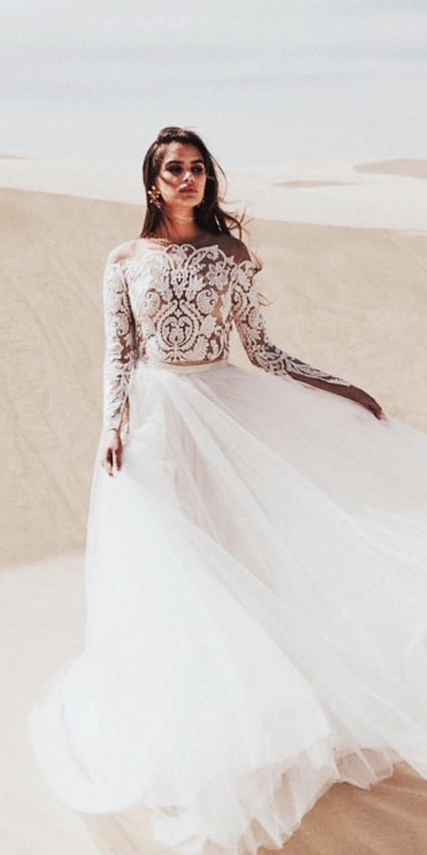 illusion long sleeve wedding dresses a line lace top tulle skirt sarah seven