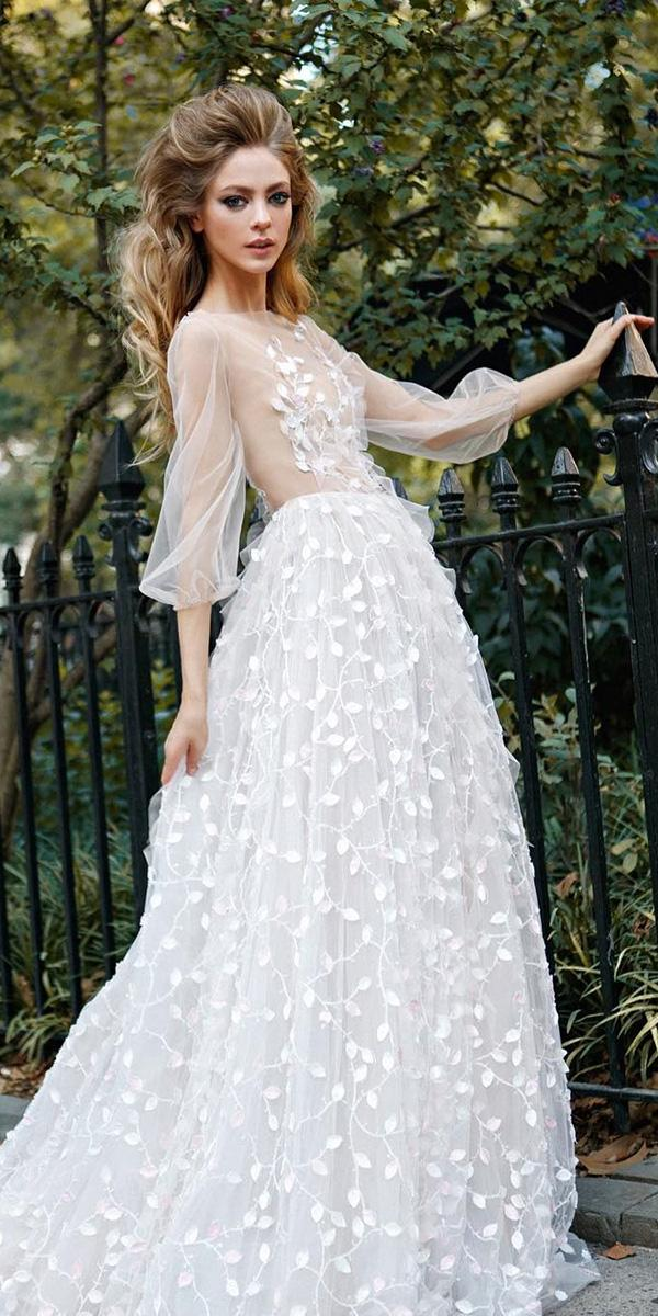 illusion long sleeve wedding dresses a line nude top floral appliques 2019 ange etoiles