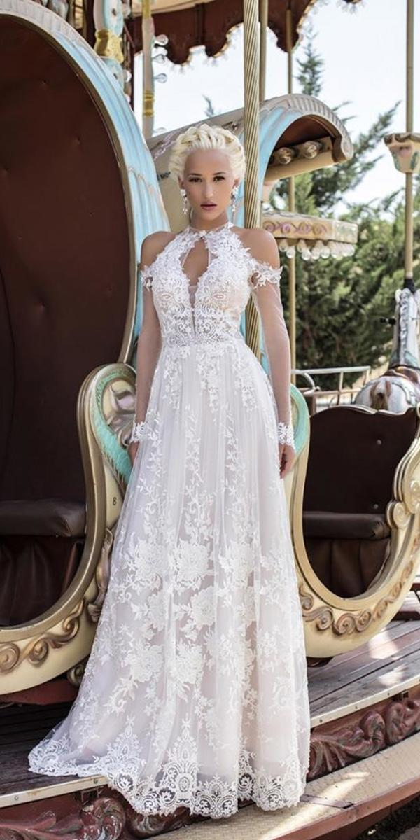 illusion long sleeve wedding dresses a line off the shoulder lace halter neckline daria kazlozi