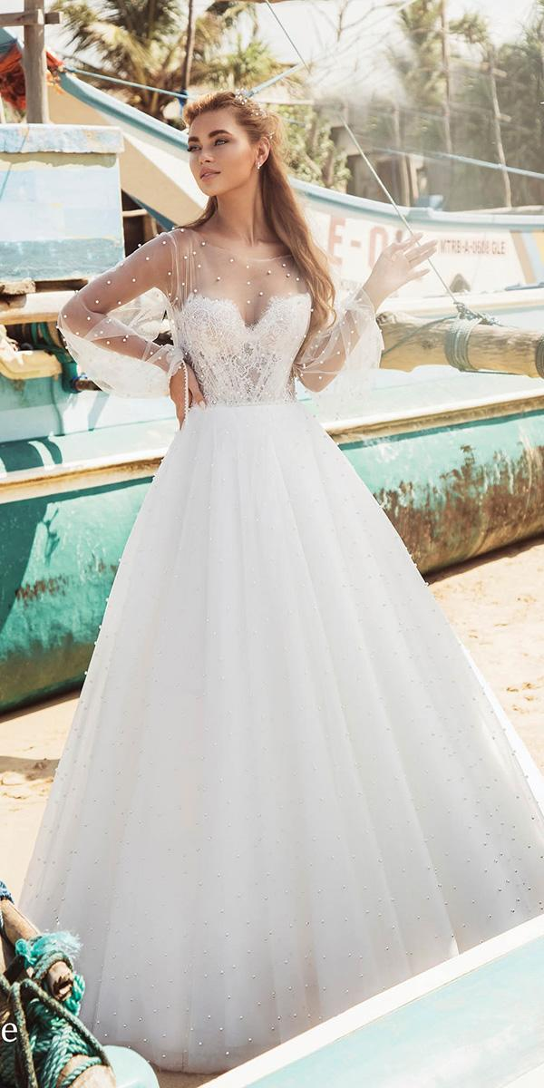 illusion long sleeve wedding dresses a line sweetheart strapless nude anesta