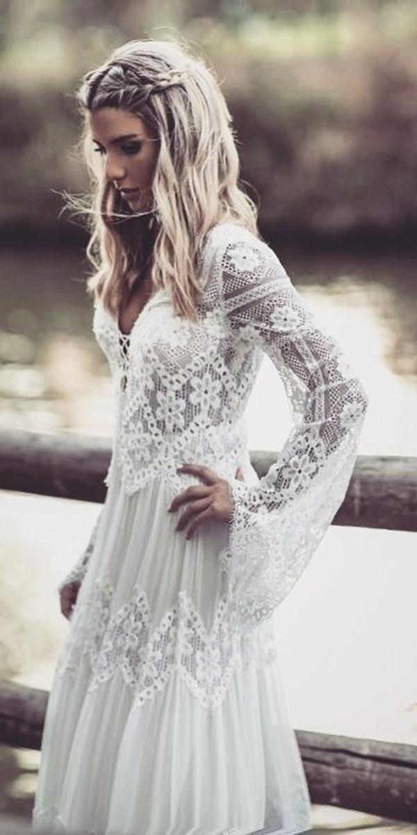illusion long sleeve wedding dresses boho lace inbal raviv bridal