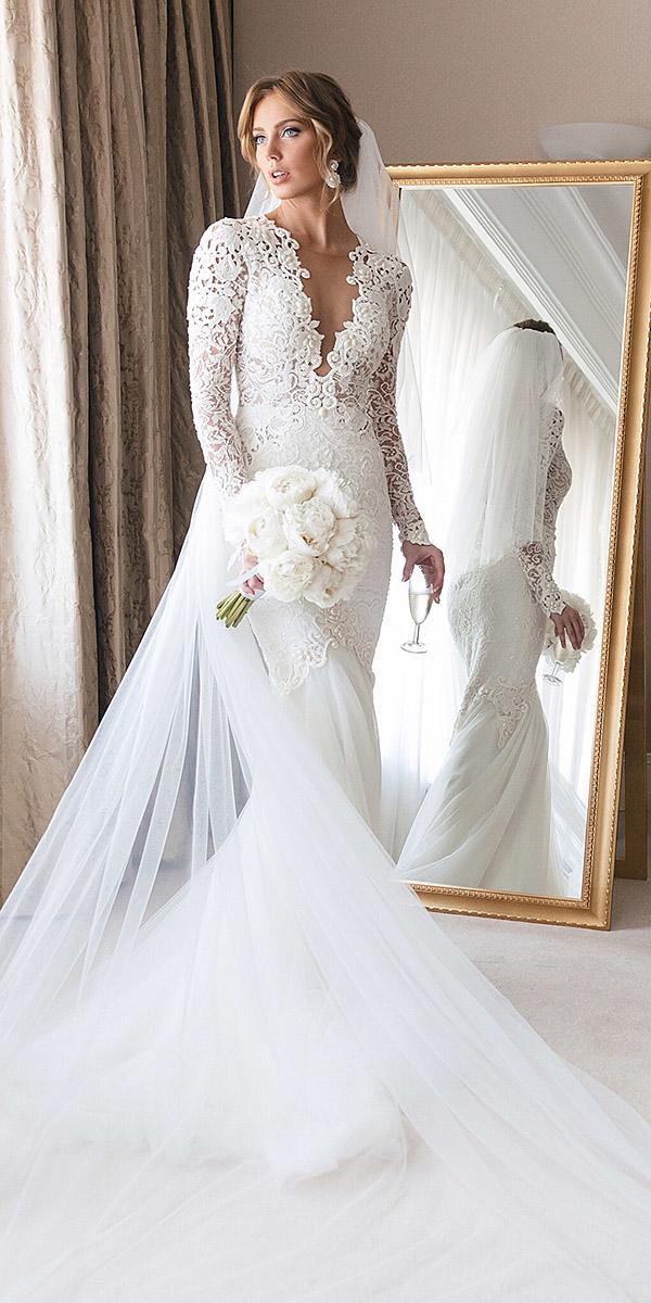illusion long sleeve wedding dresses mermaid deep v neckline berta