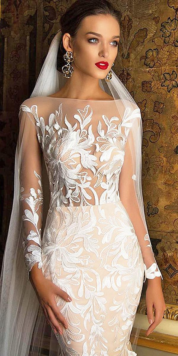 illusion long sleeve wedding dresses mermaid nude floral appliques milla nova