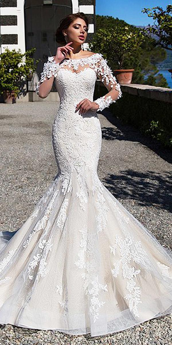 illusion long sleeve wedding dresses mermaid sweetheart floral appliques lussano bridal
