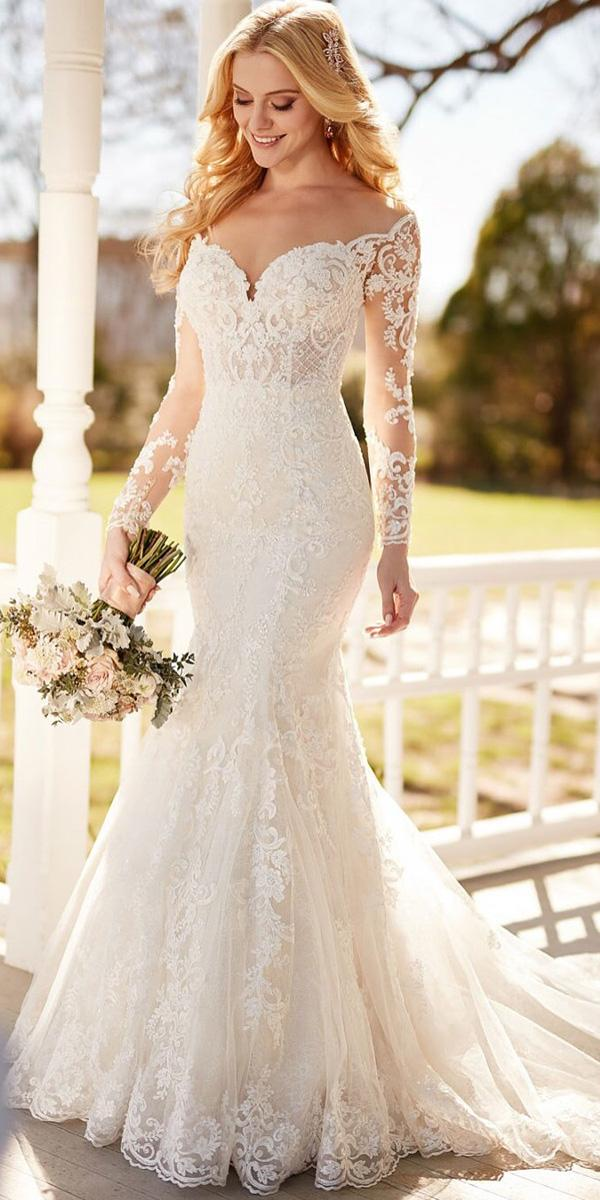 illusion long sleeve wedding dresses mermaid sweetheart full lace martina liana bridal