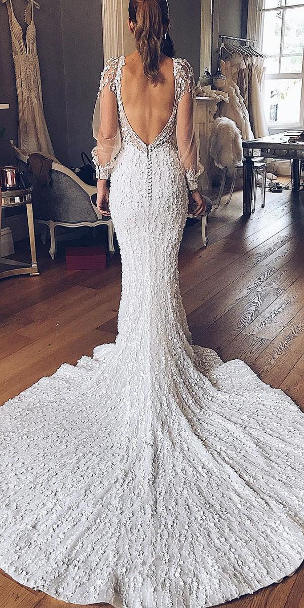 illusion long sleeve wedding dresses mermaid v back lace with train pallas couture