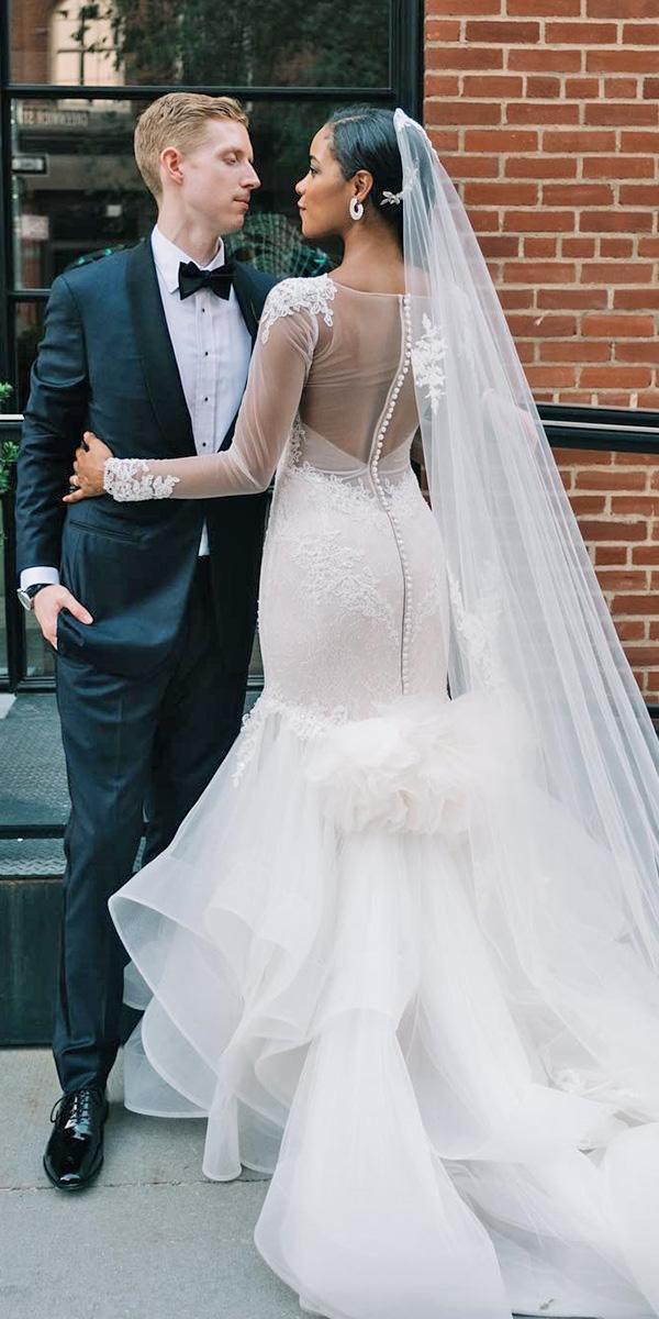 illusion long sleeve wedding dresses mermaid with veil pnina tornai