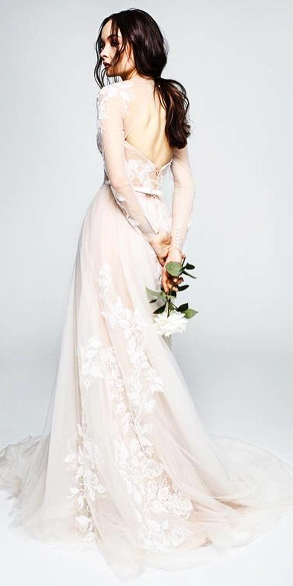 illusion long sleeve wedding dresses open back nude floral lace details papilio