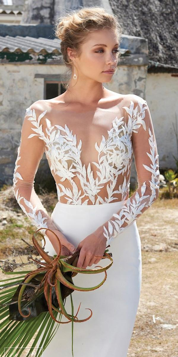 illusion long sleeve wedding dresses sexy floral top nude beach elbeth gillis