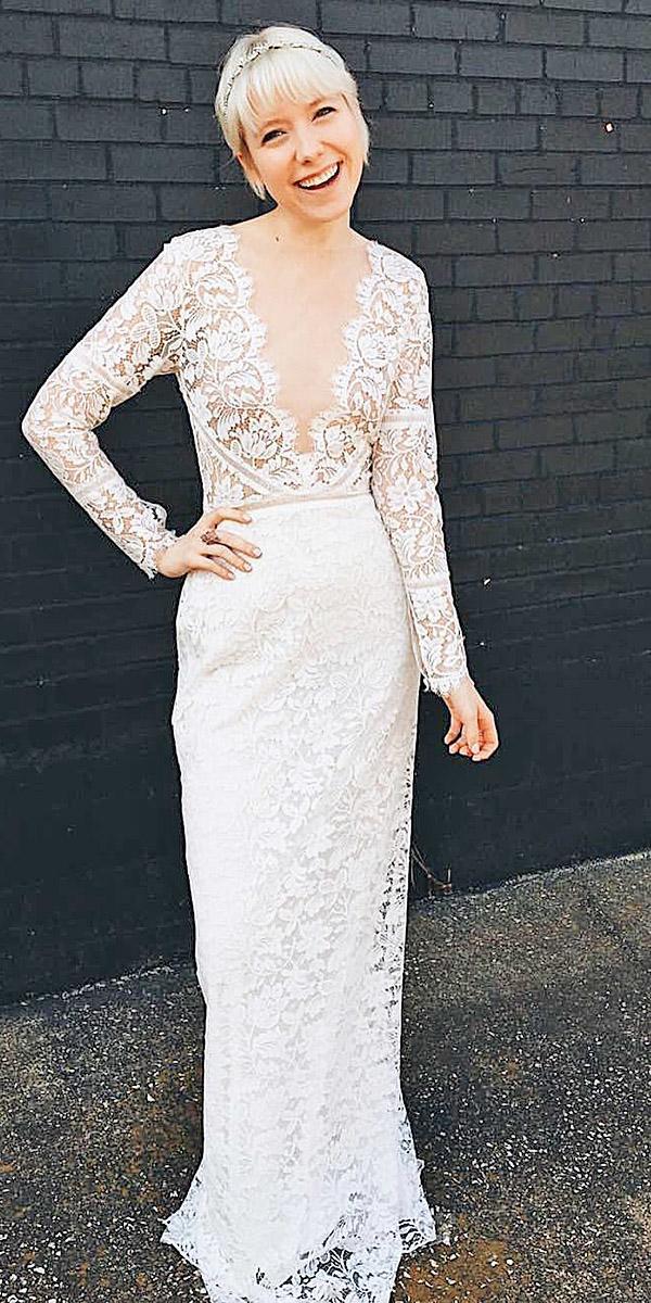 illusion long sleeve wedding dresses sheath deep v neckline lace romantic sarah seven