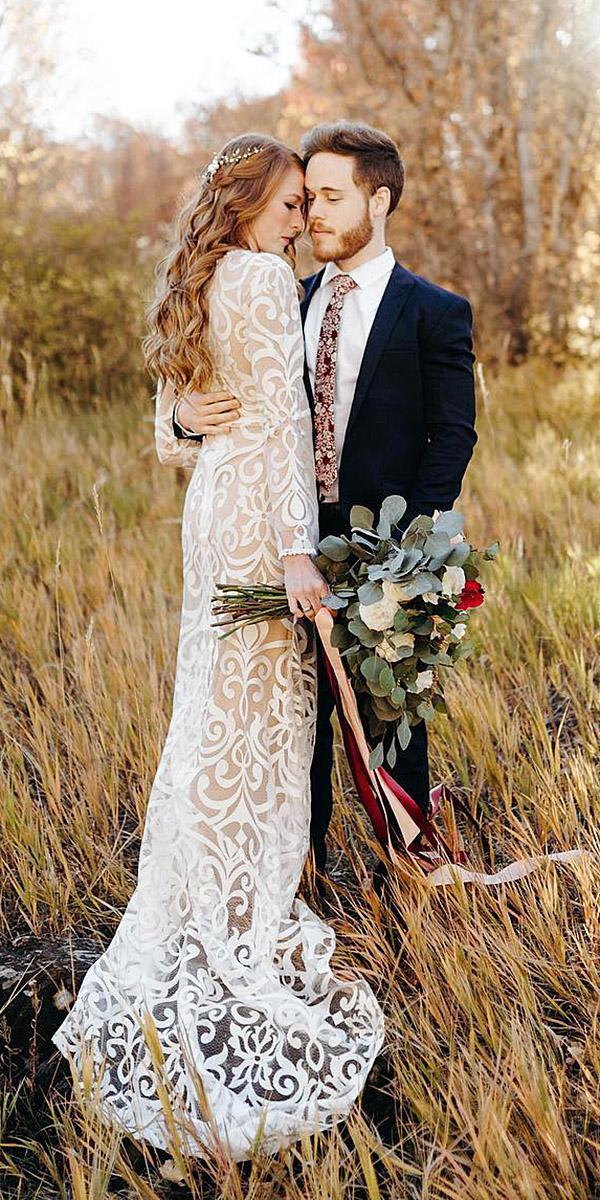 illusion long sleeve wedding dresses sheath full lace alice shoots people