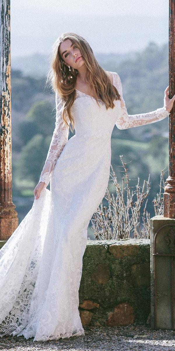 illusion long sleeve wedding dresses sheath full lace v neckline anna campbell