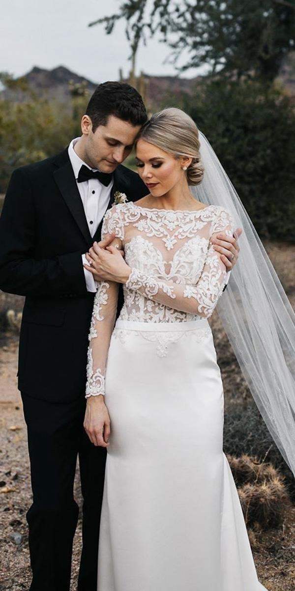 illusion long sleeve wedding dresses sheath lace top sexy demetrios