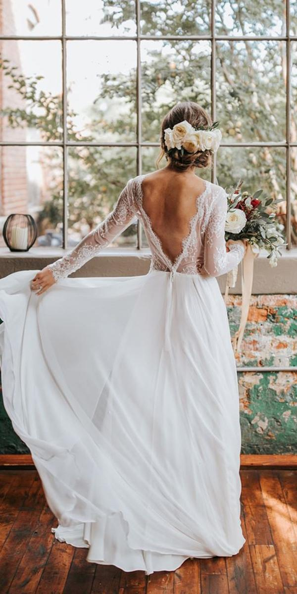illusion long sleeve wedding v back lace top the sentimentalistatl