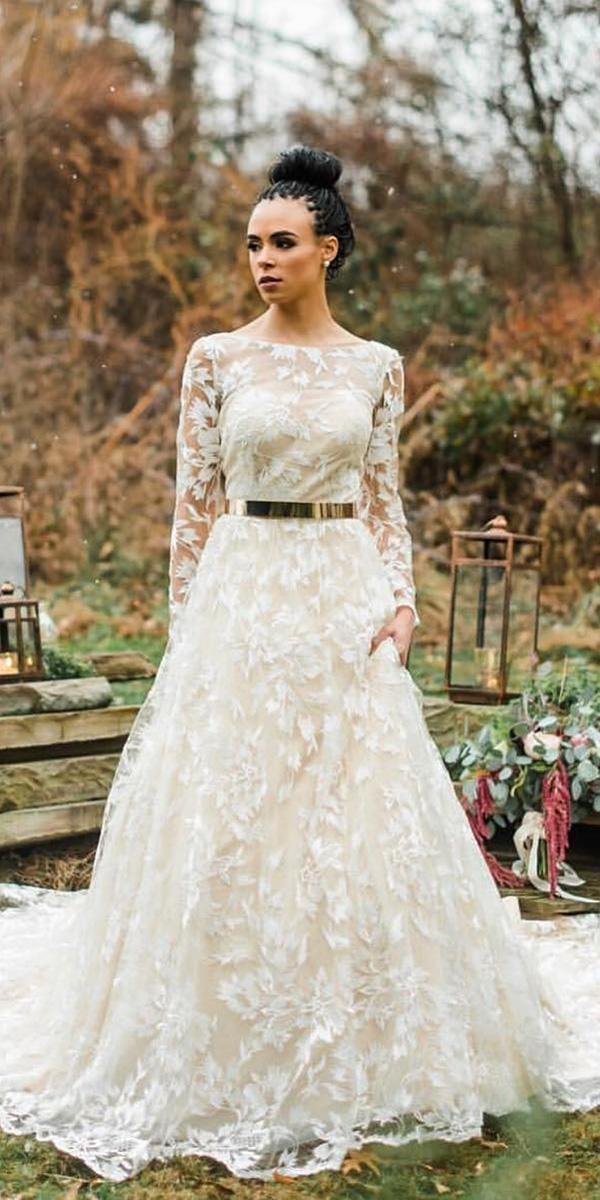 illusion long sleeves wedding dresses a line nude floral lace cristiano lucci bridal