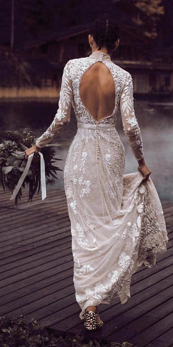 illusion long sleeves wedding dresses open back nude floral lace hermione depaula
