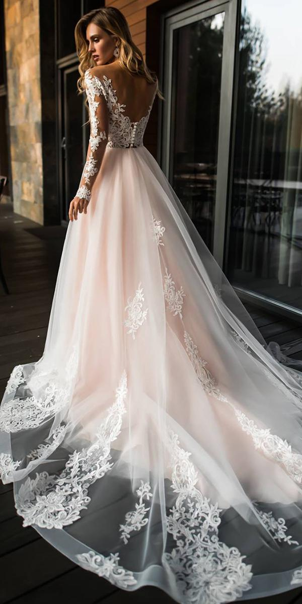 illusion long sleeves wedding dresses princess low back lace florence dresses