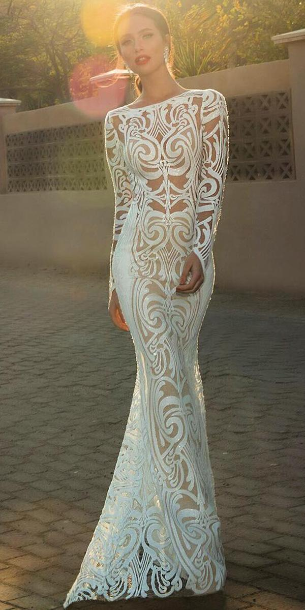 illusion long sleeves wedding dresses trumpet unique lace oved cohen