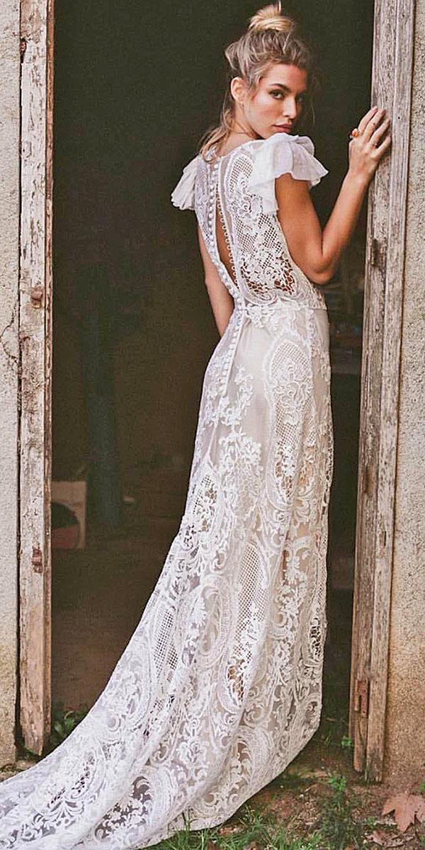 immacle novias open back with cap sleeves lace beach top wedding dresses