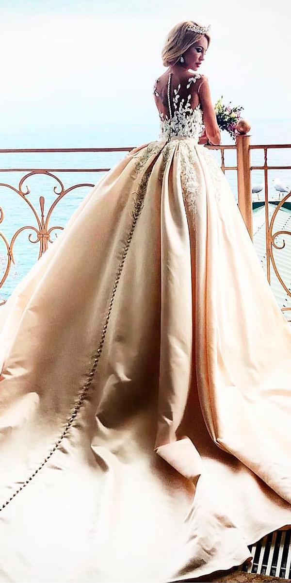 ivory ball gown lace illusion back cap sleeves with train princess wedding dresses crystal design
