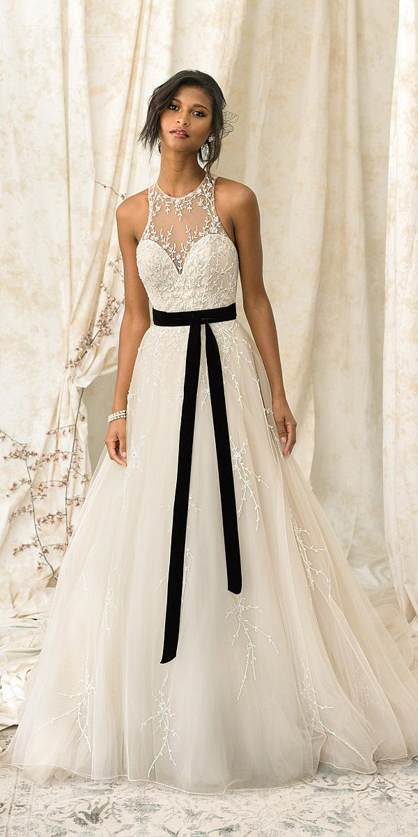justin alexander signature wedding 2018 dresses illusion sweetheart belt floral appliques