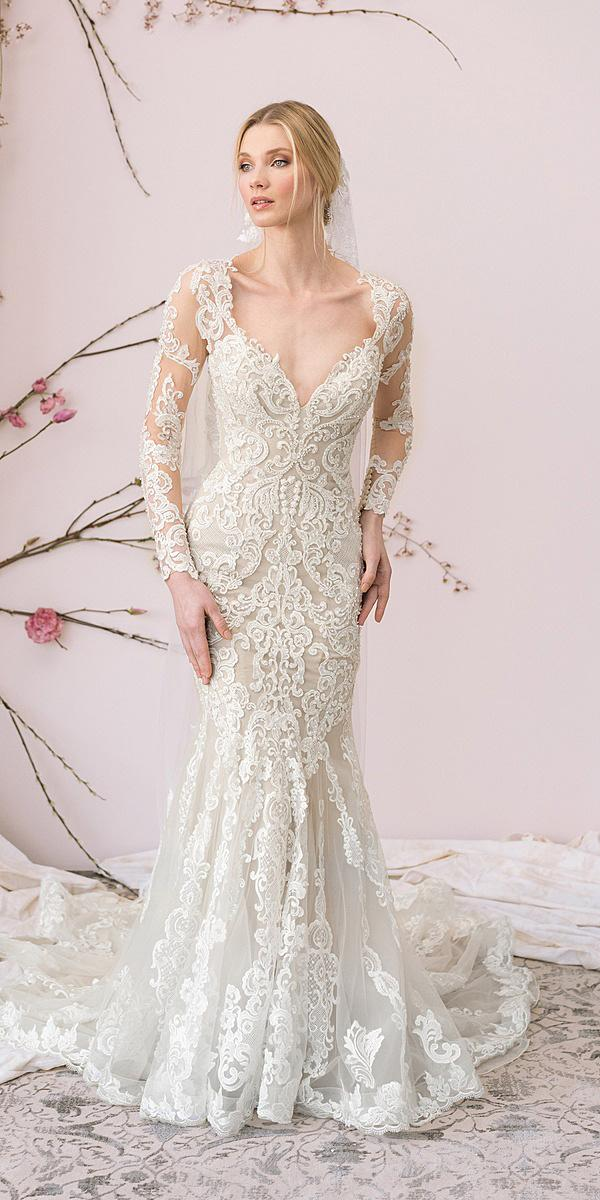 justin alexander signature wedding dresses mermaid with long sleeves full lace embroidered