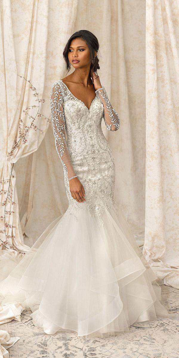 justin alexander signature wedding dresses mermaid with long sleeves sweetheart bling