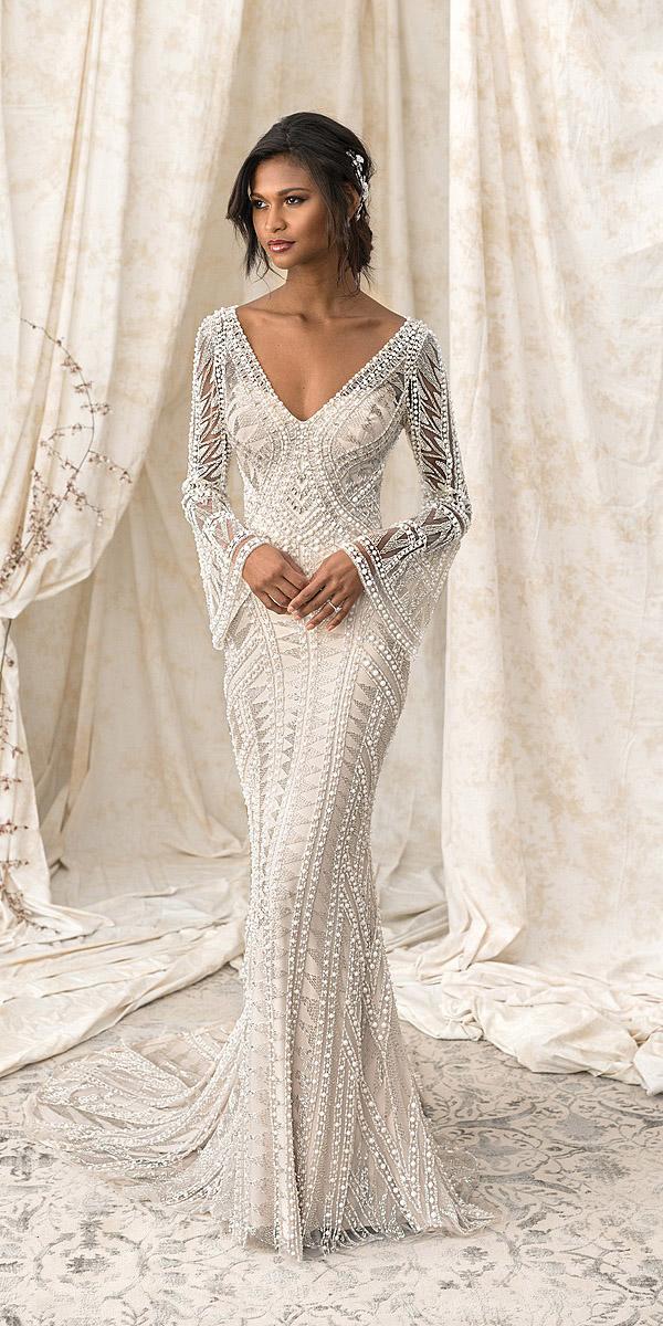 justin alexander signature wedding dresses sheath v neckline with long sleeves floral embellishment