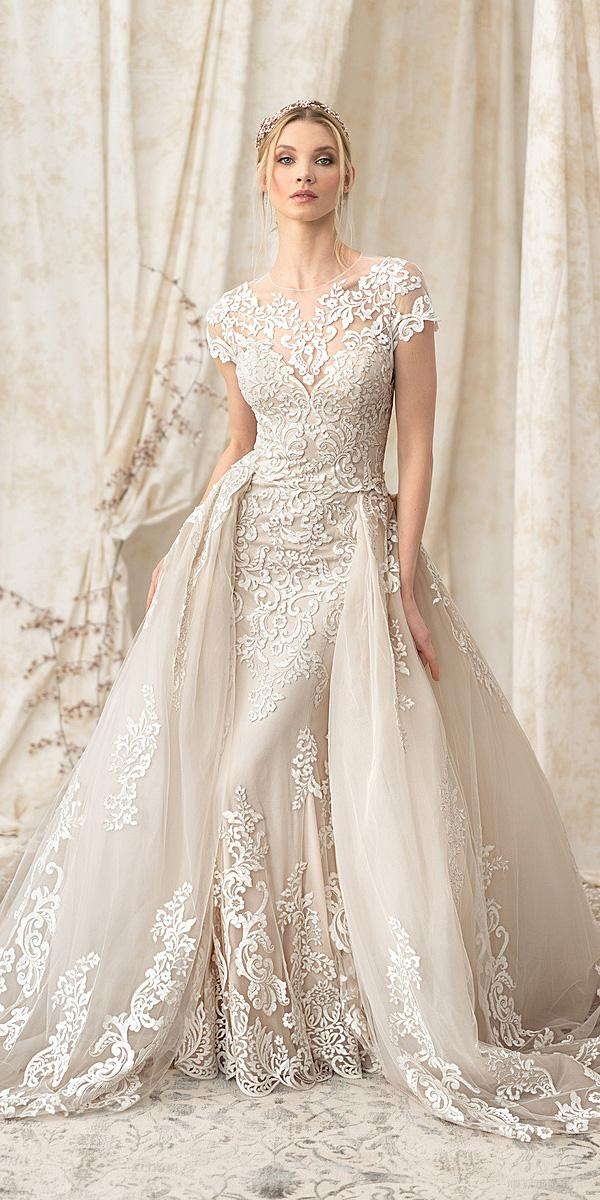 justin alexander signature wedding dresses with cap sleeves full lace overskirt