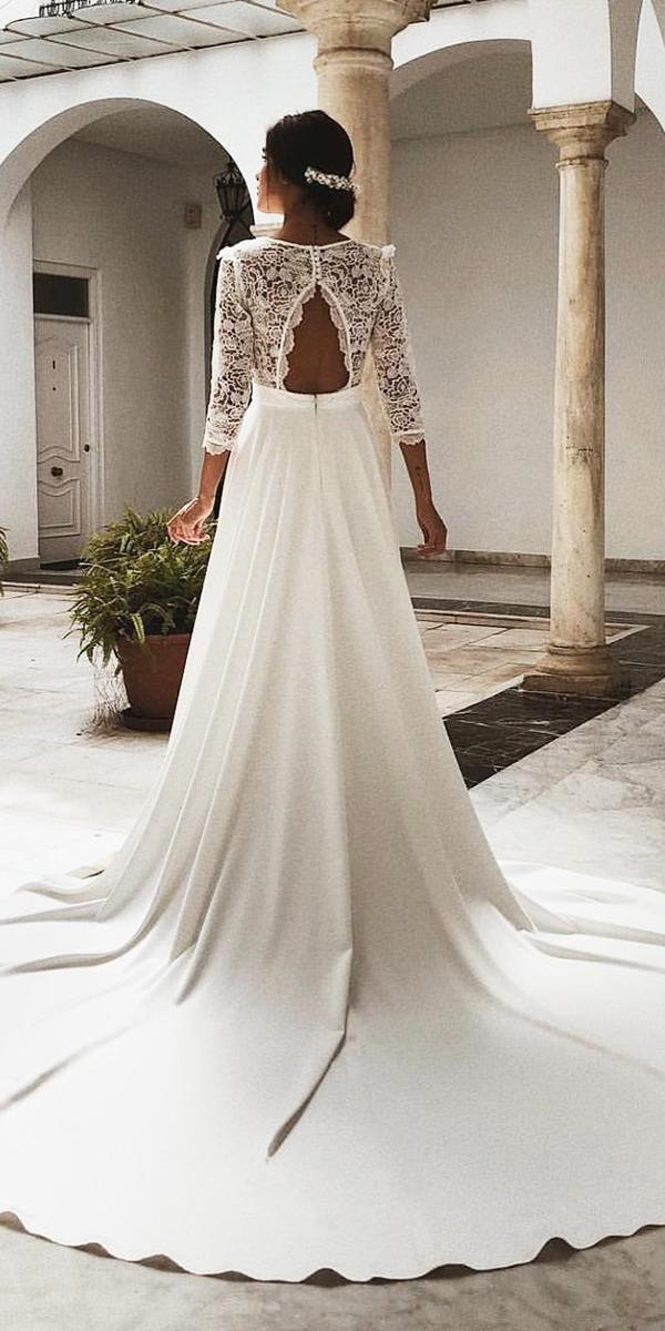 lace back wedding dresses a line open back with three quote sleeves rocio osorno costur