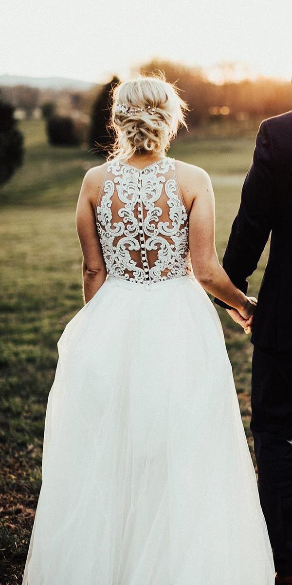 lace back wedding dresses a line sleeveless outdoor allure bridals