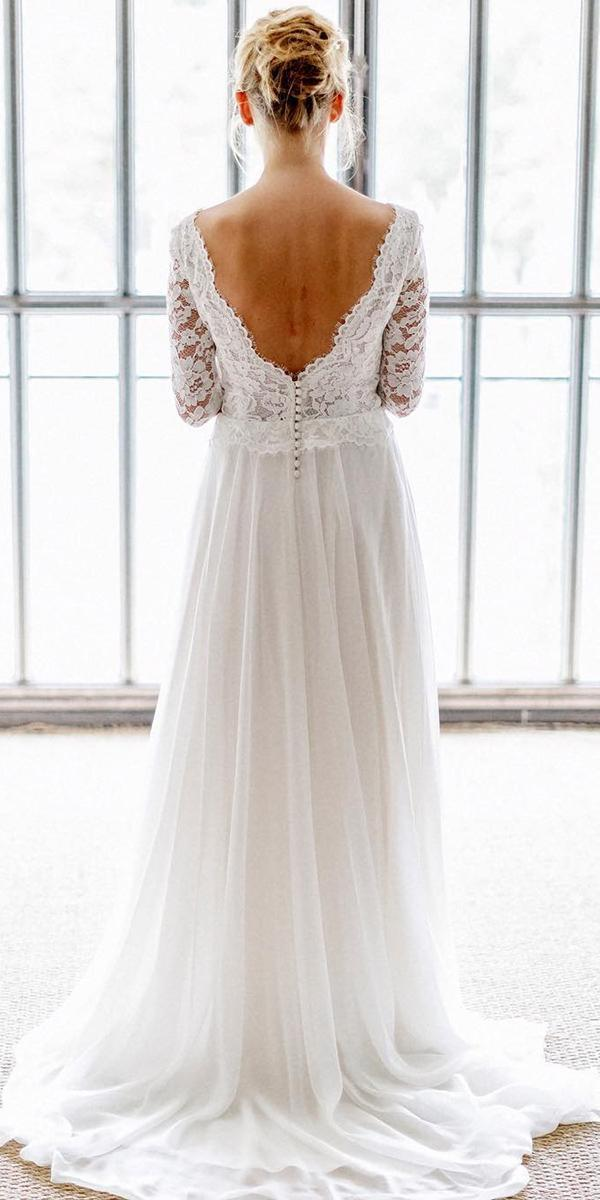 lace back wedding-] dresses a line with long sleeves v back marie laporte creatrice