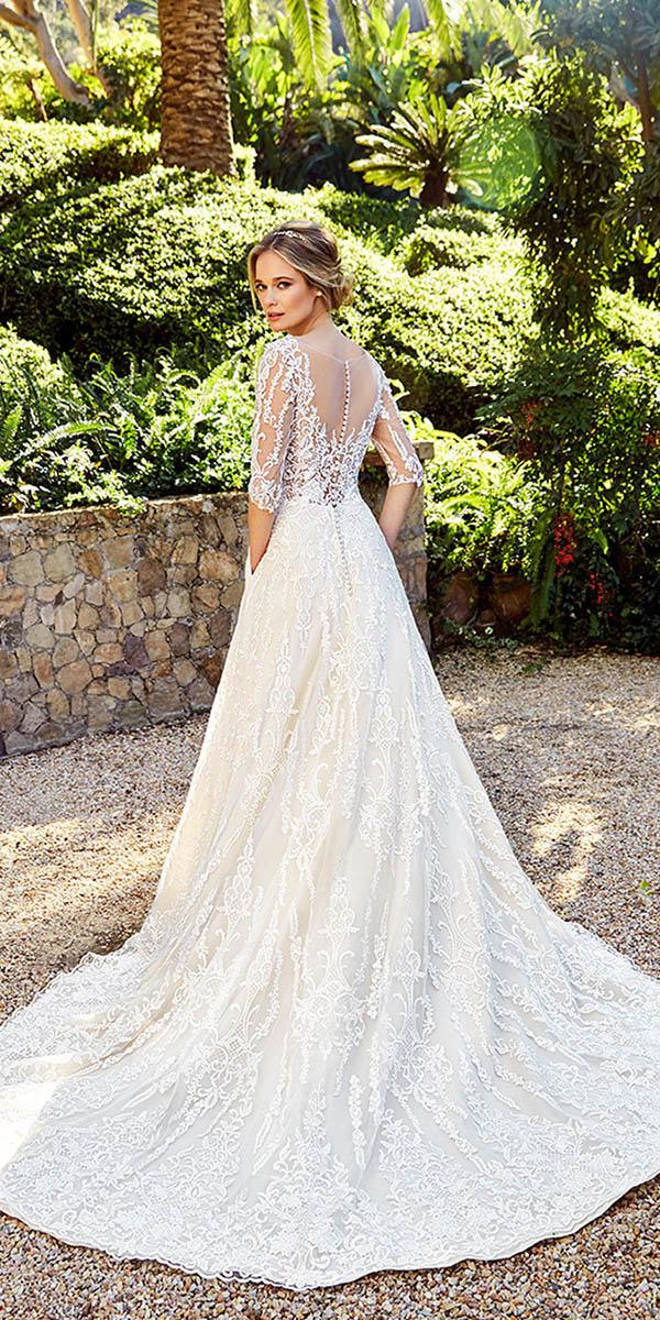 lace back wedding dresses a line with sleeves buttons moonlight bridal