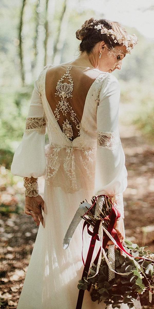 lace back wedding dresses boho with long sleeves illusion serafin castillo