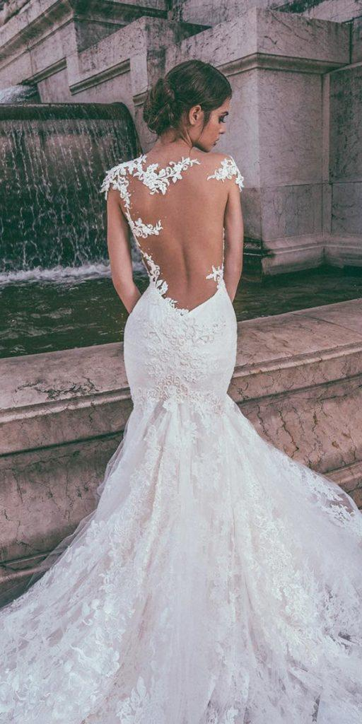 lace back wedding dresses fit and flare illusion tatoo effect julia kontogruni
