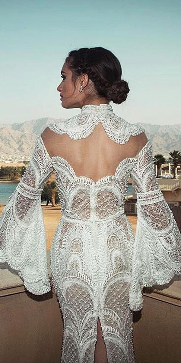lace back wedding dresses high neck with long sleeves oved cohen