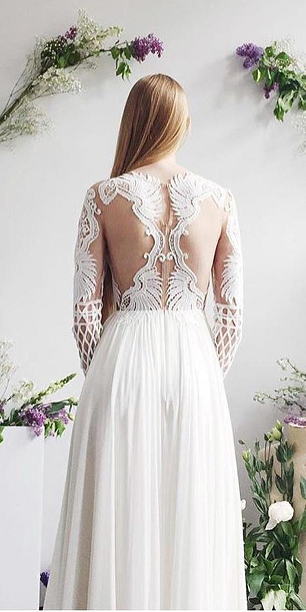 lace back wedding dresses illusion tatto effect floral embellishment leanne marshall