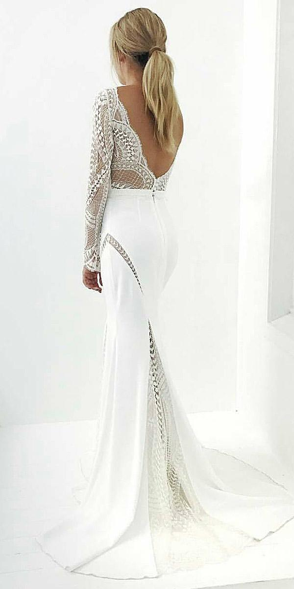 lace back wedding dresses low with sleeves vintage alta moda