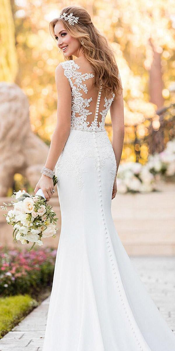lace back wedding dresses mermaid with buttons illusion stella york