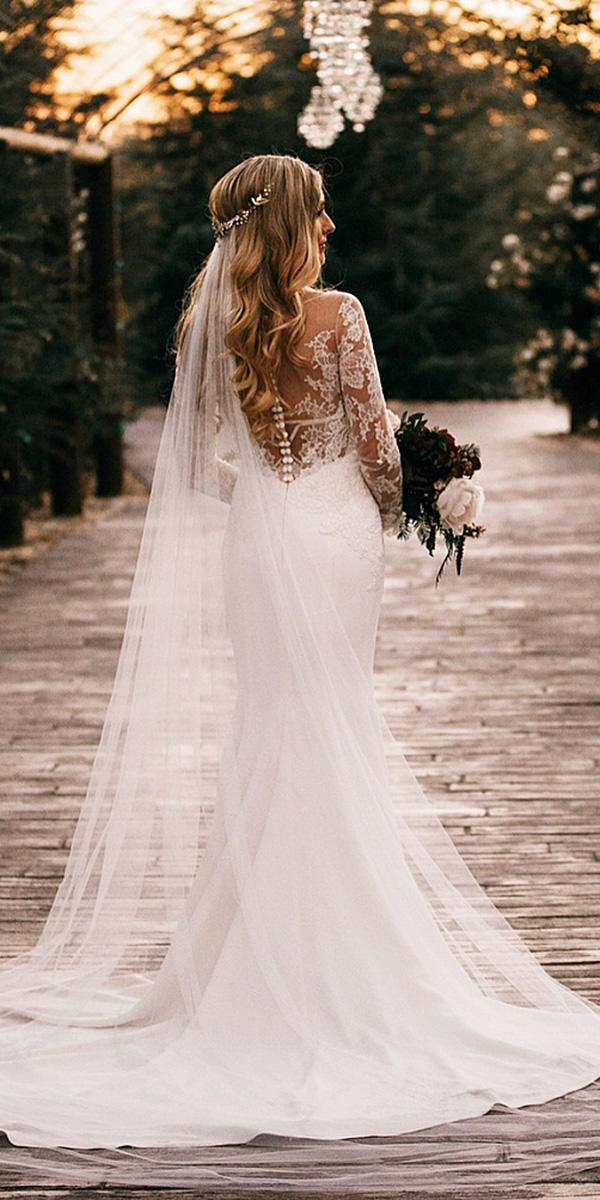 lace back wedding dresses mermaid with long sleeves buttons anne barge